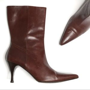 Cole Haan Brown Pointy Toe High Heel Short Boots